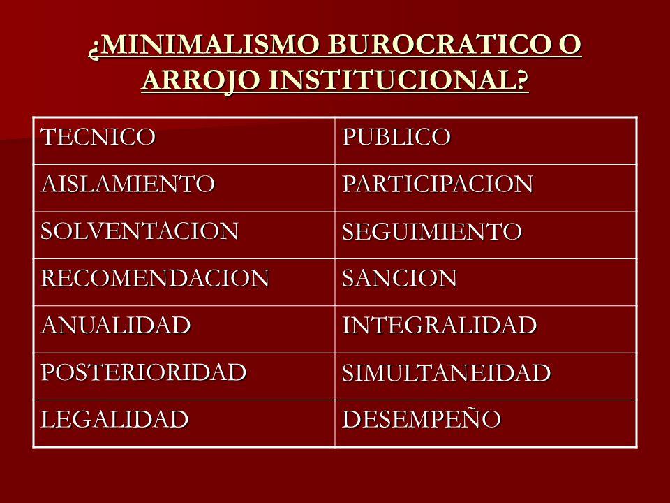 ¿MINIMALISMO BUROCRATICO O ARROJO INSTITUCIONAL