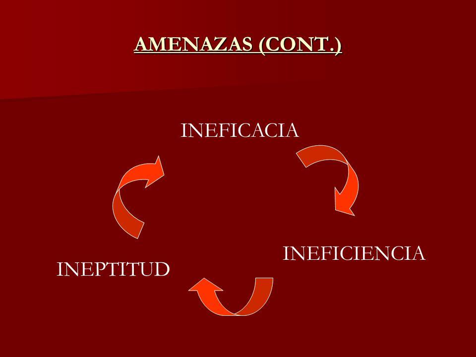 AMENAZAS (CONT.) INEFICACIA INEFICIENCIA INEPTITUD