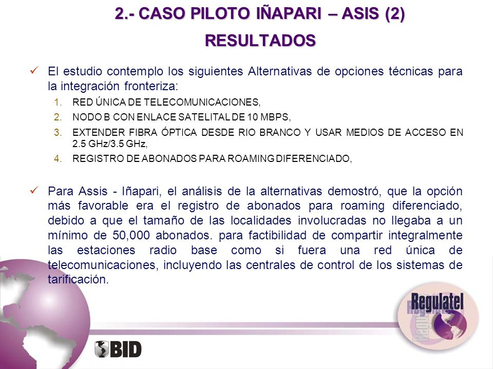 2.- CASO PILOTO IÑAPARI – ASIS (2) RESULTADOS