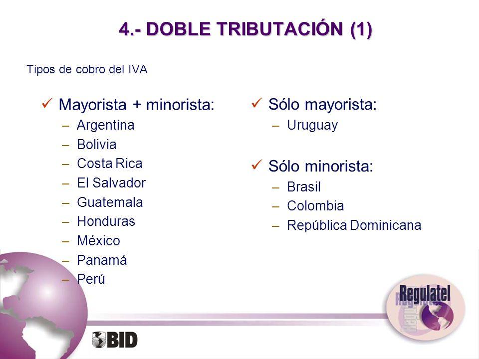 4.- DOBLE TRIBUTACIÓN (1) Mayorista + minorista: Sólo mayorista: