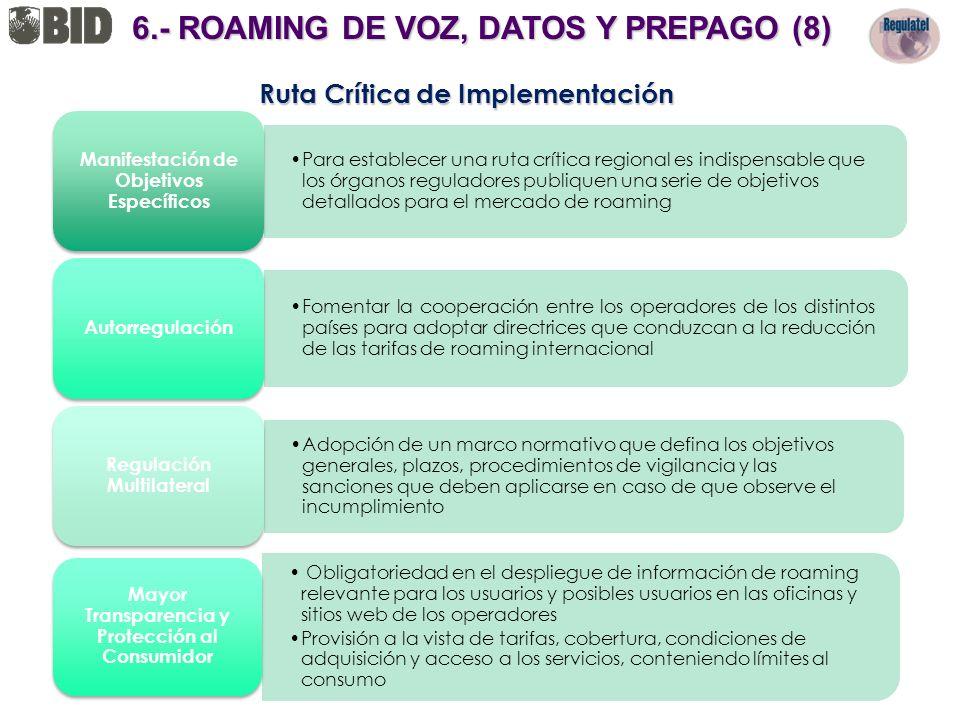 6.- ROAMING DE VOZ, DATOS Y PREPAGO (8) Ruta Crítica de Implementación
