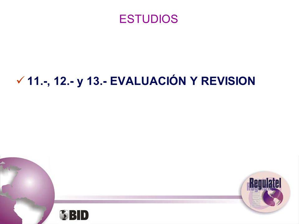 ESTUDIOS 11.-, 12.- y 13.- EVALUACIÓN Y REVISION