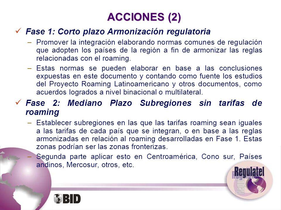 ACCIONES (2) Fase 1: Corto plazo Armonización regulatoria