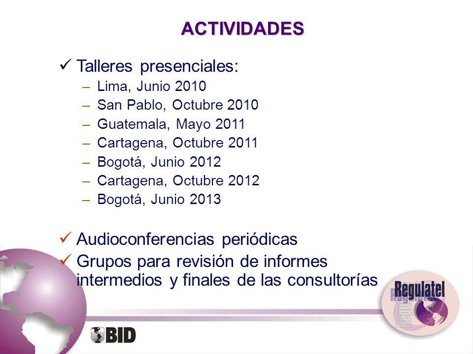 ACTIVIDADES Talleres presenciales: Audioconferencias periódicas