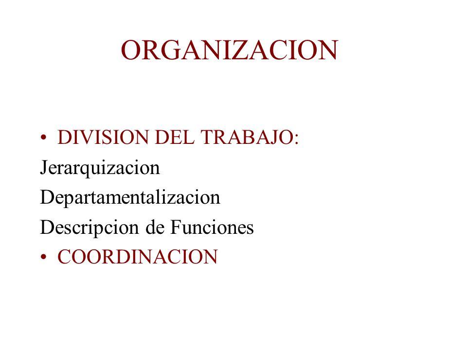 ORGANIZACION DIVISION DEL TRABAJO: Jerarquizacion Departamentalizacion