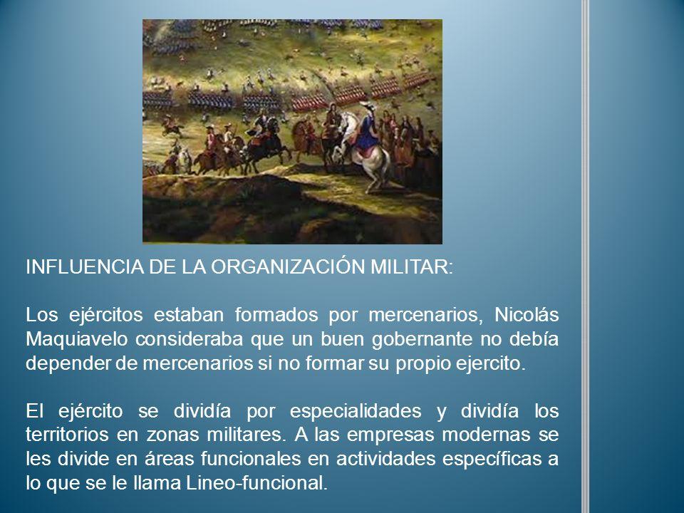 INFLUENCIA DE LA ORGANIZACIÓN MILITAR: