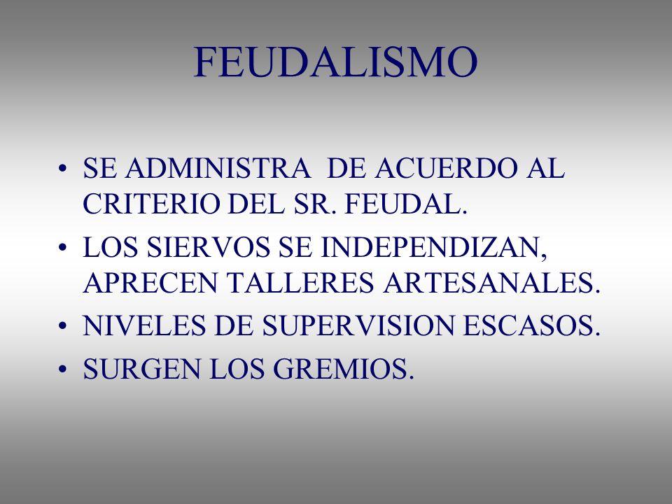 FEUDALISMO SE ADMINISTRA DE ACUERDO AL CRITERIO DEL SR. FEUDAL.