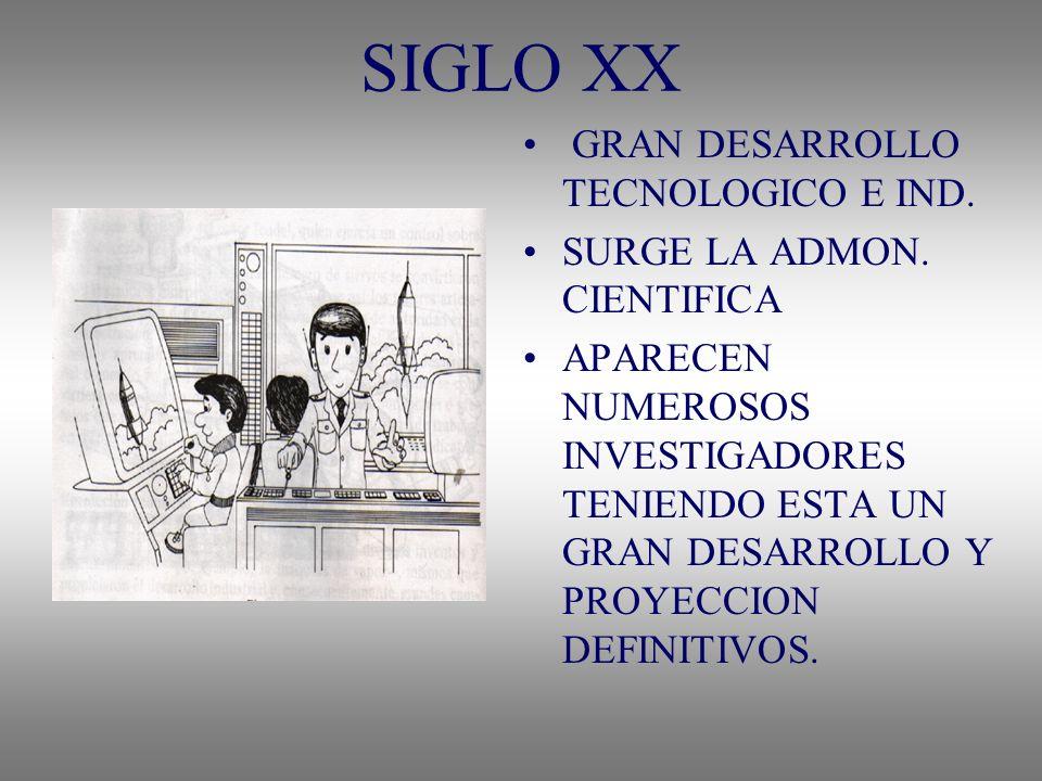 SIGLO XX GRAN DESARROLLO TECNOLOGICO E IND. SURGE LA ADMON. CIENTIFICA