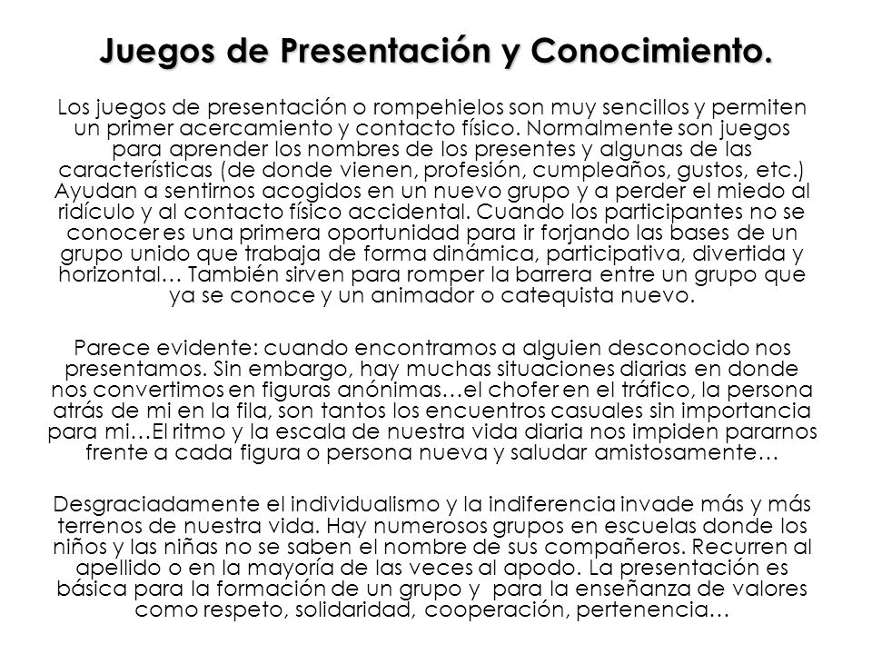 Juegos de Presentación y Conocimiento.