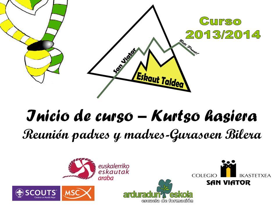 Curso 2013/2014 Inicio de curso – Kurtso hasiera Reunión padres y madres-Gurasoen Bilera