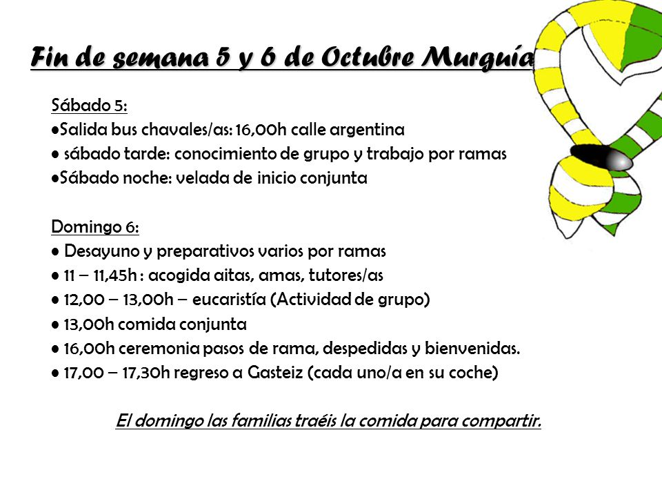 Fin de semana 5 y 6 de Octubre Murguía