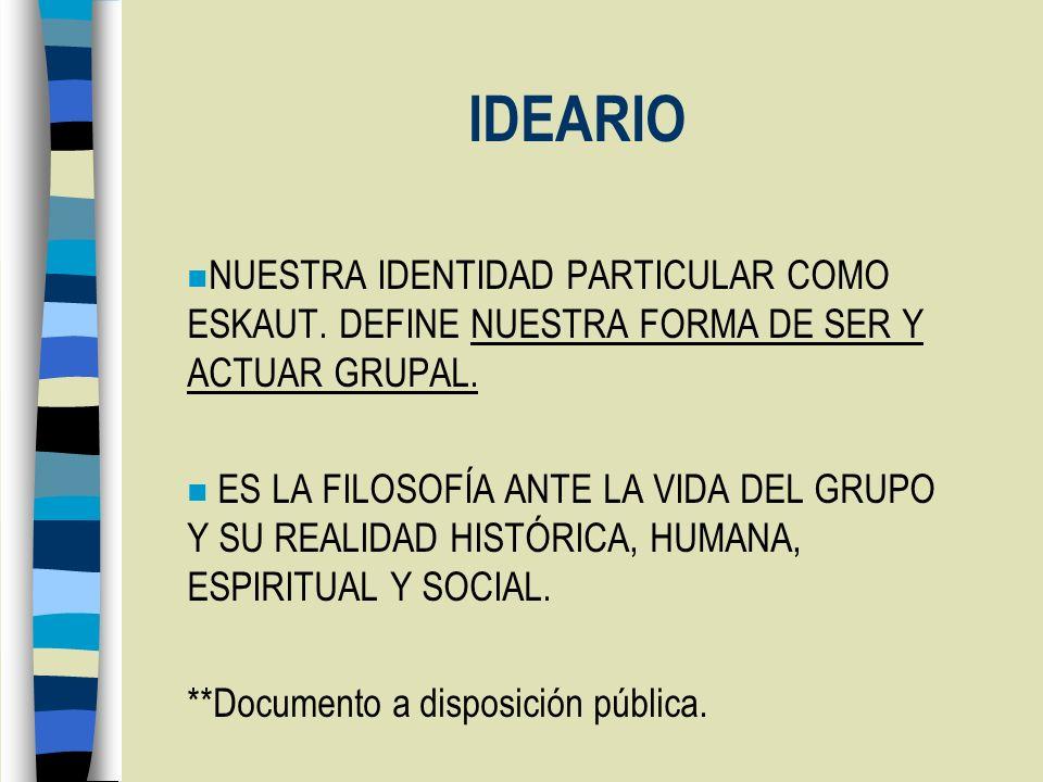 IDEARIO NUESTRA IDENTIDAD PARTICULAR COMO ESKAUT. DEFINE NUESTRA FORMA DE SER Y ACTUAR GRUPAL.