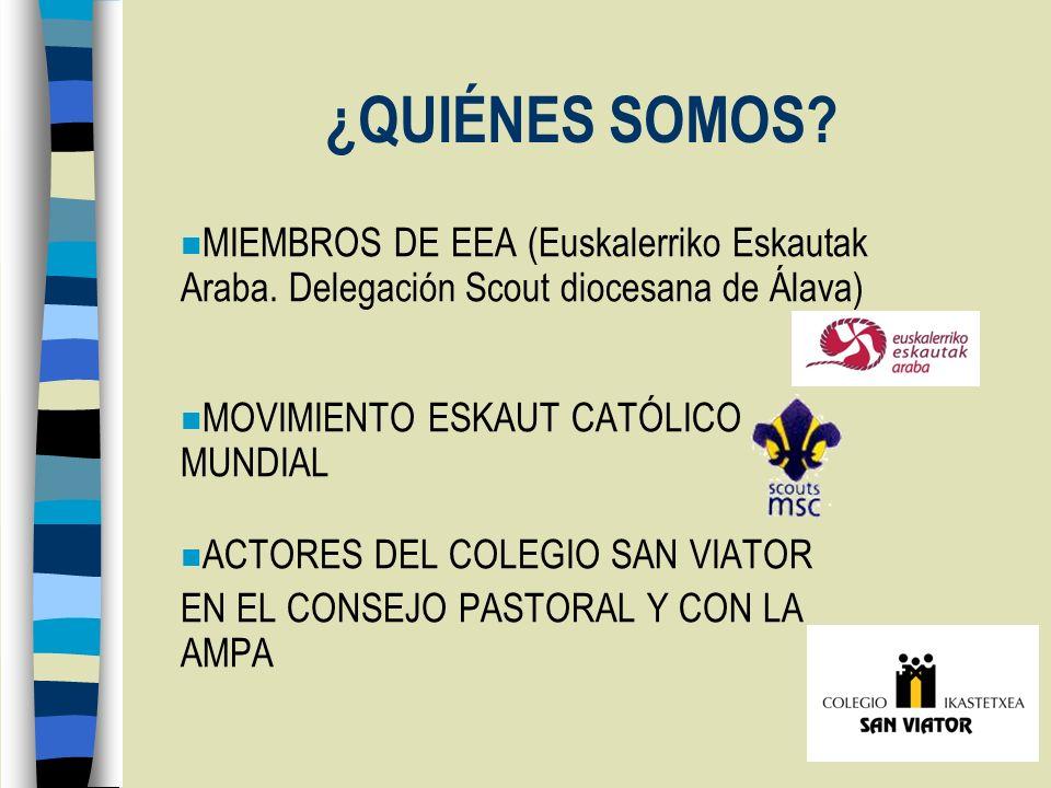 ¿QUIÉNES SOMOS MIEMBROS DE EEA (Euskalerriko Eskautak Araba. Delegación Scout diocesana de Álava) MOVIMIENTO ESKAUT CATÓLICO MUNDIAL.