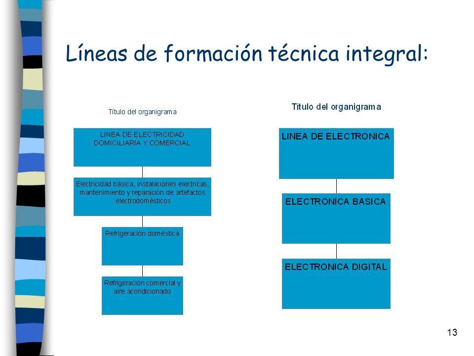 Líneas de formación técnica integral: