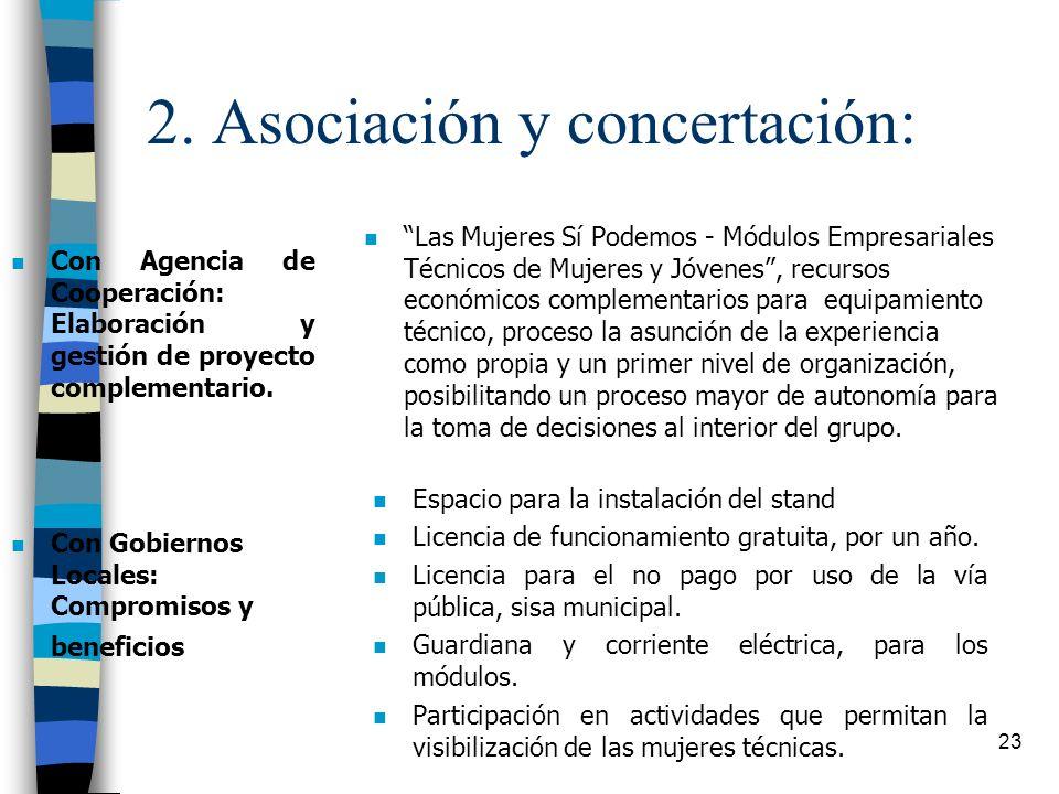 2. Asociación y concertación:
