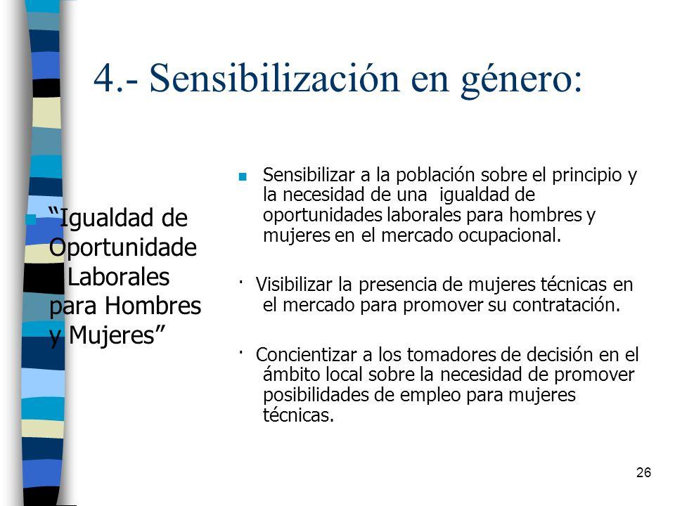 4.- Sensibilización en género: