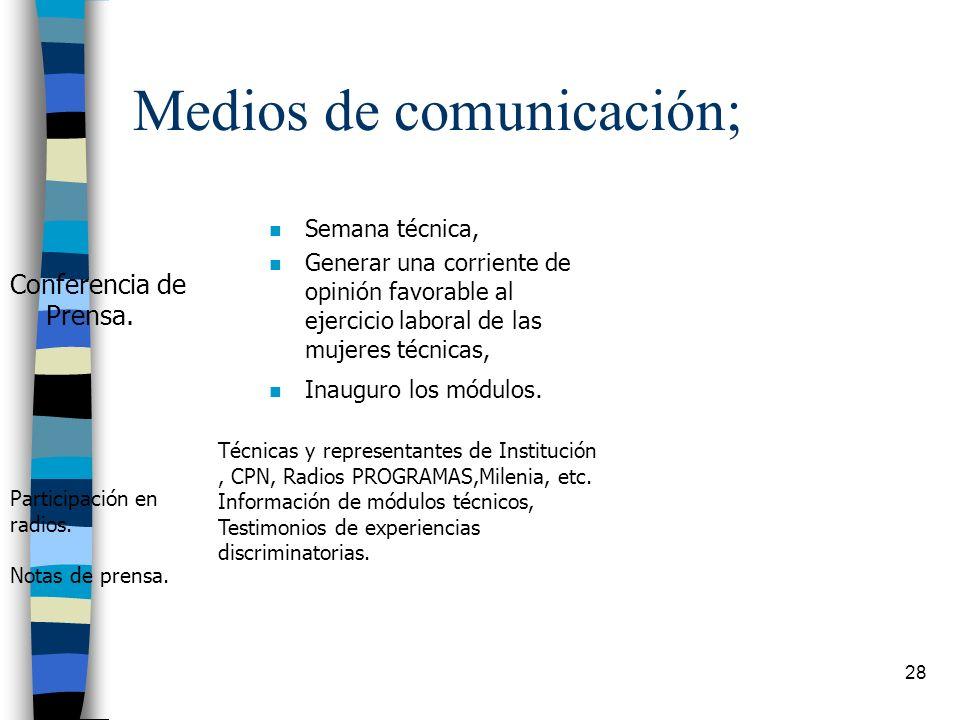 Medios de comunicación;