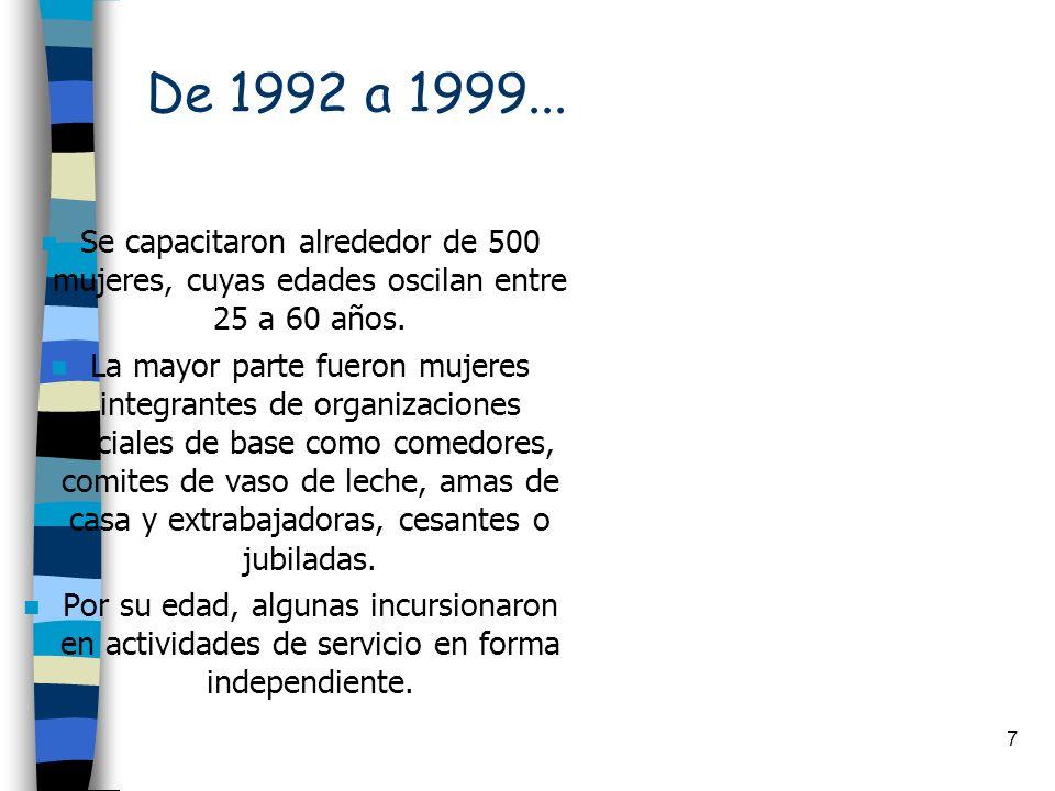 De 1992 a 1999... Se capacitaron alrededor de 500 mujeres, cuyas edades oscilan entre 25 a 60 años.