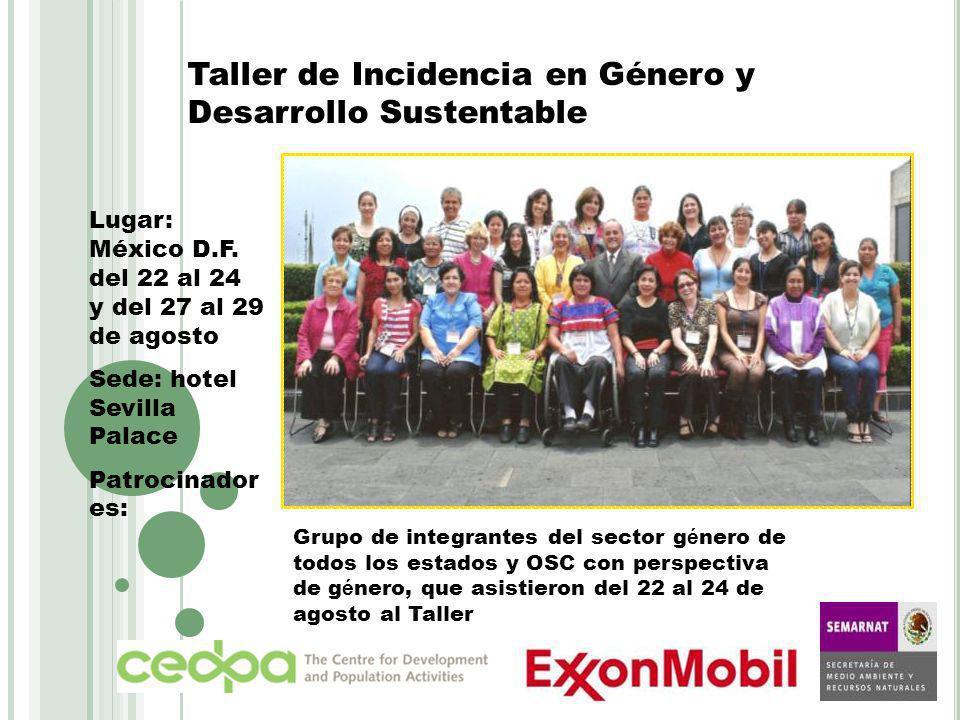 Taller de Incidencia en Género y Desarrollo Sustentable