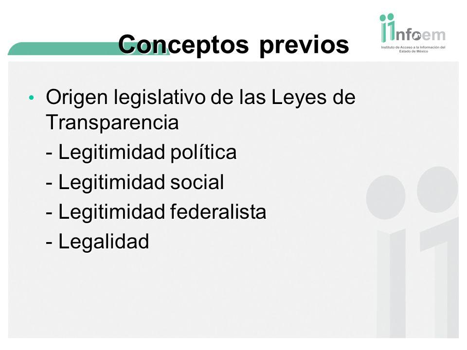 Conceptos previos Origen legislativo de las Leyes de Transparencia