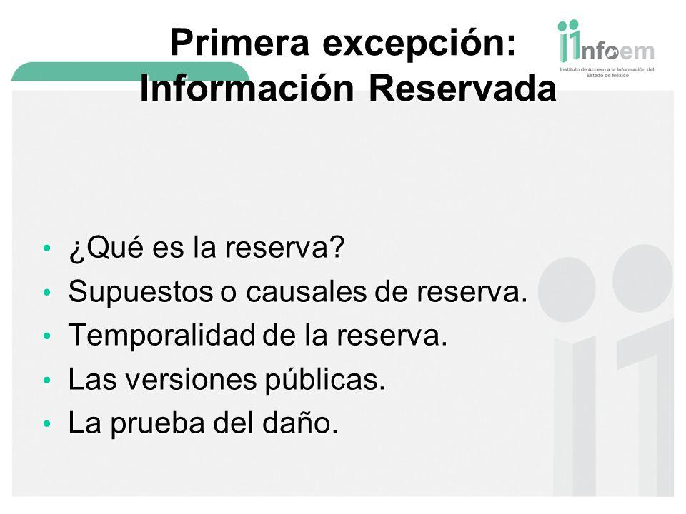 Primera excepción: Información Reservada
