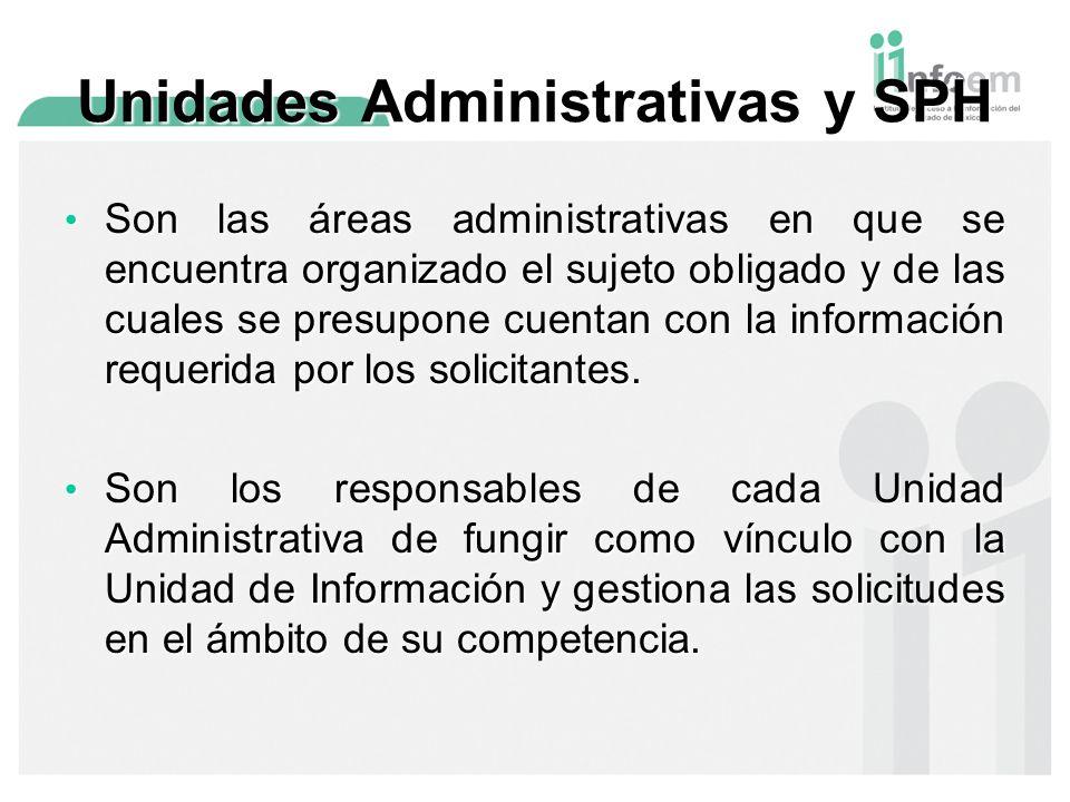 Unidades Administrativas y SPH