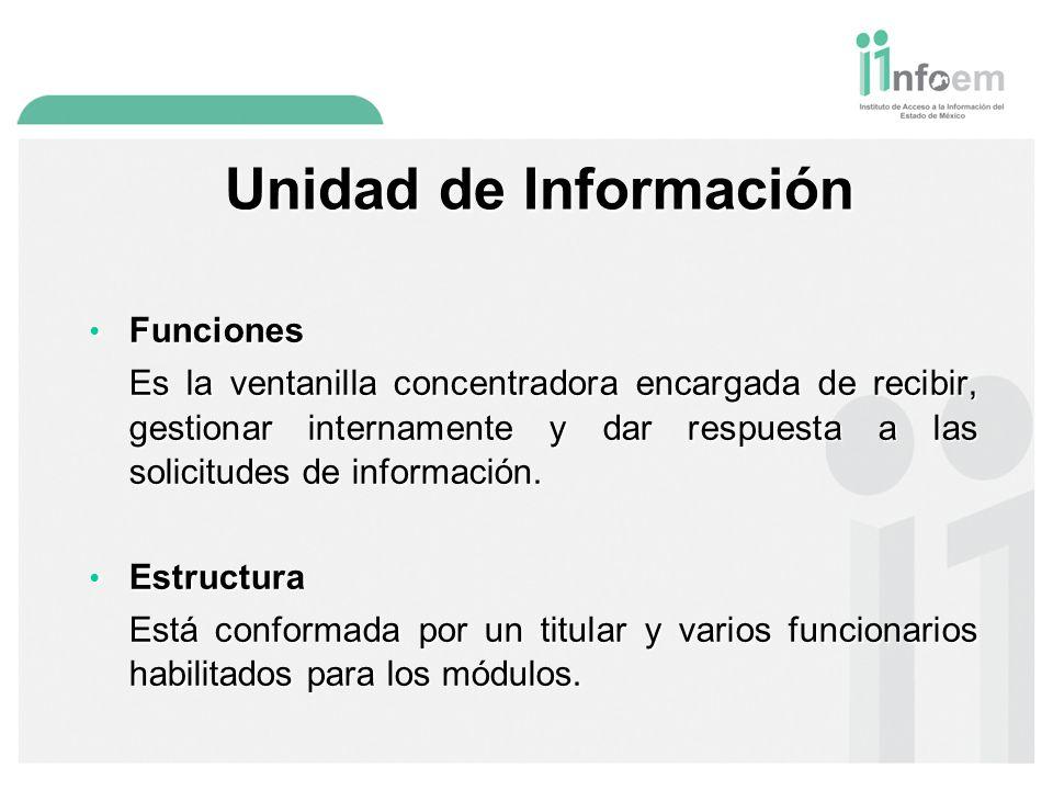 Unidad de Información Funciones