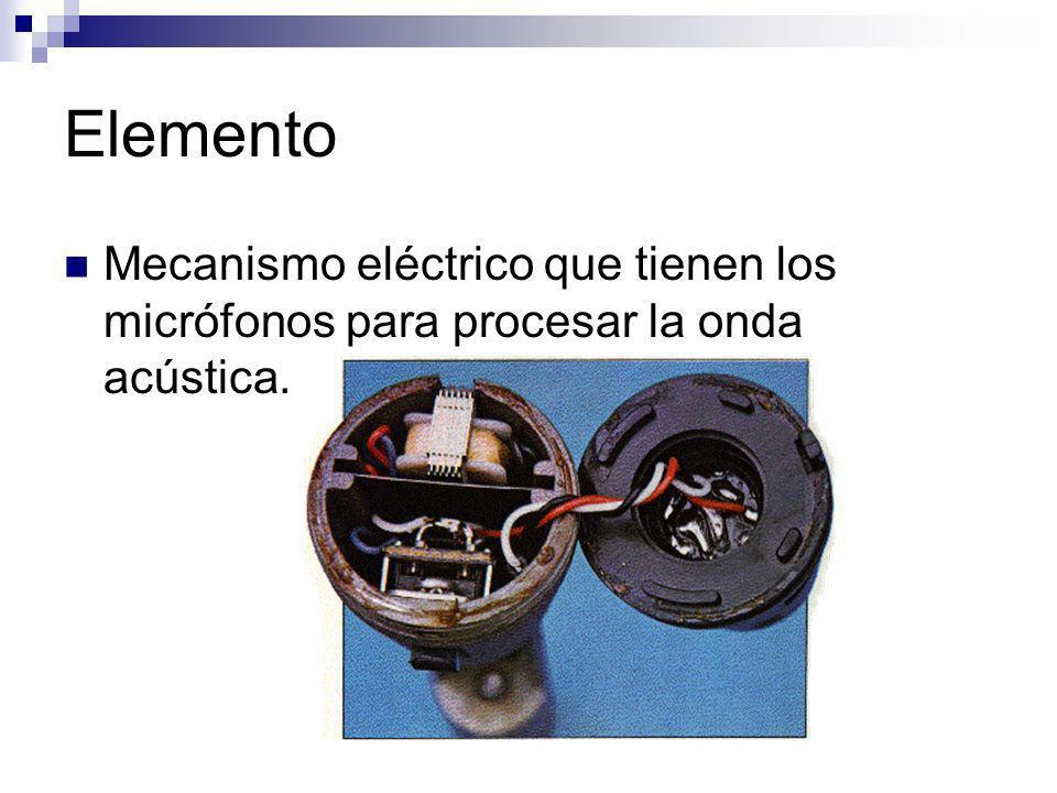 Elemento Mecanismo eléctrico que tienen los micrófonos para procesar la onda acústica.