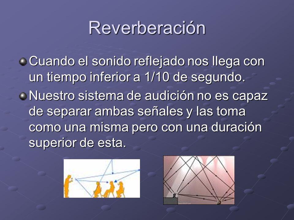 Reverberación Cuando el sonido reflejado nos llega con un tiempo inferior a 1/10 de segundo.