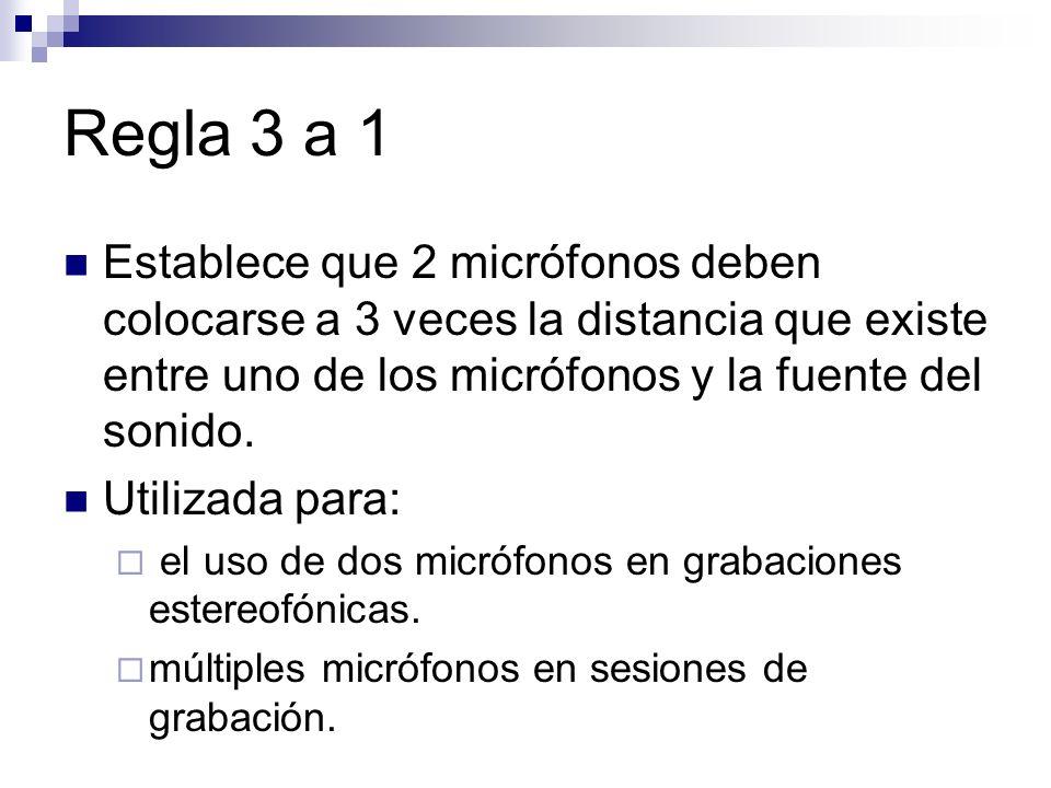 Regla 3 a 1 Establece que 2 micrófonos deben colocarse a 3 veces la distancia que existe entre uno de los micrófonos y la fuente del sonido.