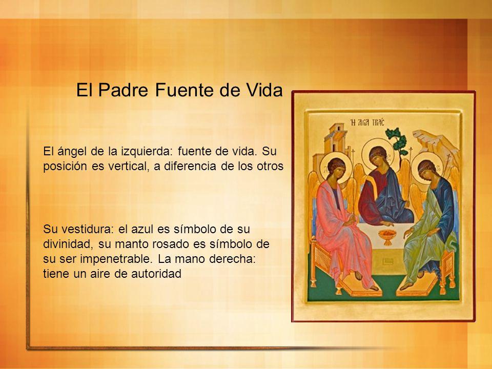 El Padre Fuente de Vida El ángel de la izquierda: fuente de vida. Su posición es vertical, a diferencia de los otros.