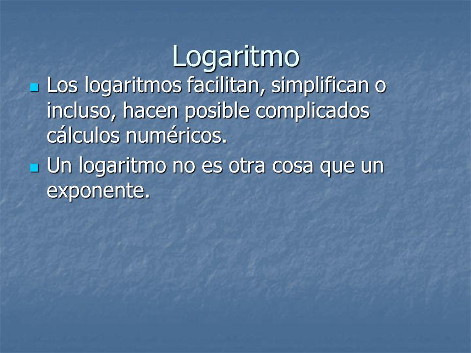 Logaritmo Los logaritmos facilitan, simplifican o incluso, hacen posible complicados cálculos numéricos.