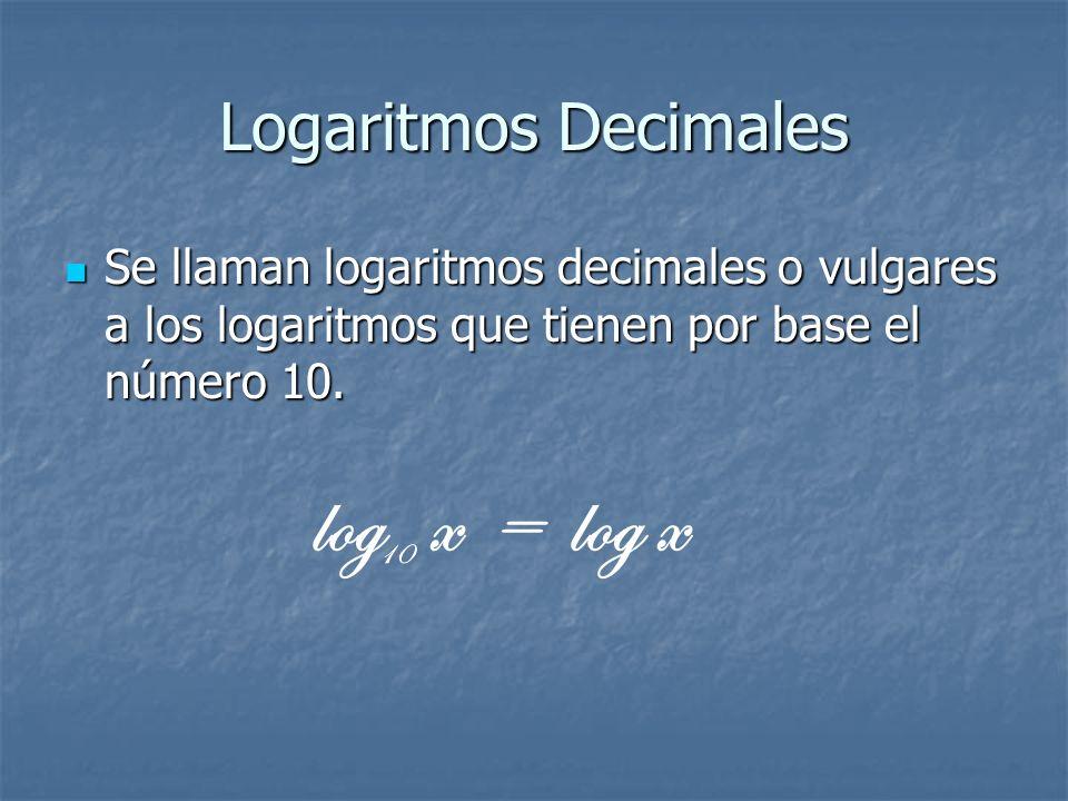 log x = log x Logaritmos Decimales