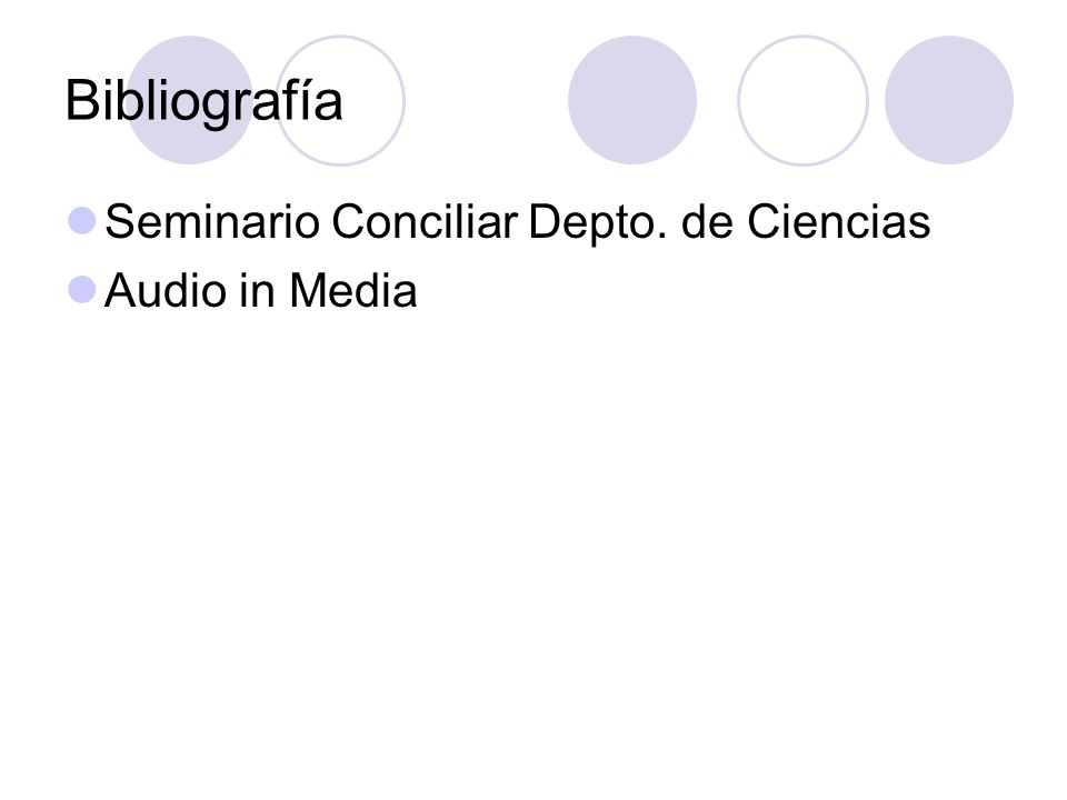 Bibliografía Seminario Conciliar Depto. de Ciencias Audio in Media