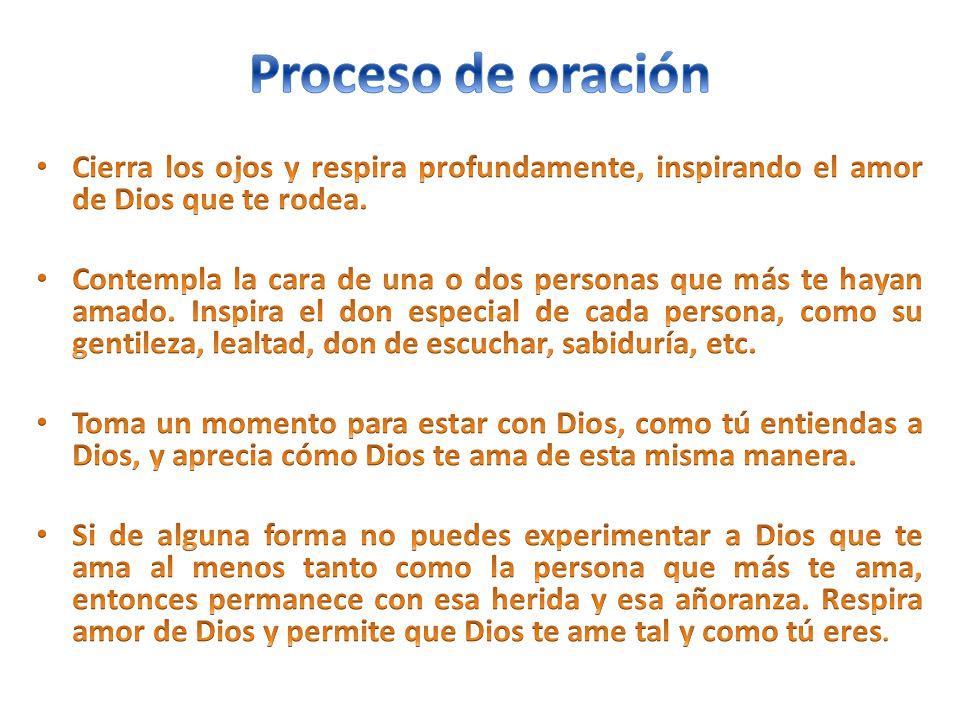 Proceso de oración Cierra los ojos y respira profundamente, inspirando el amor de Dios que te rodea.