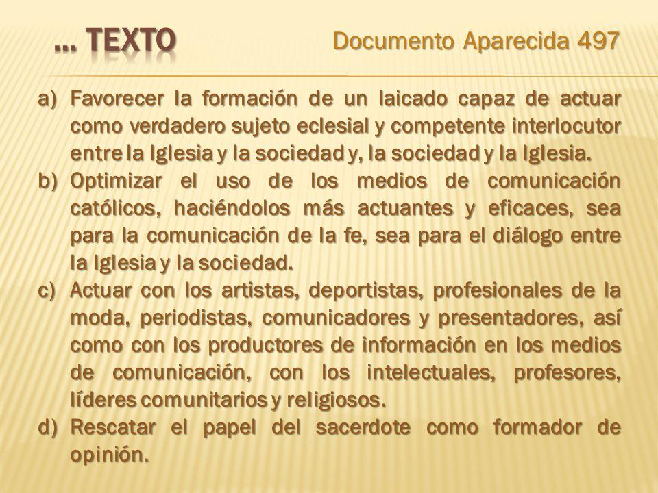 … texto Documento Aparecida 497