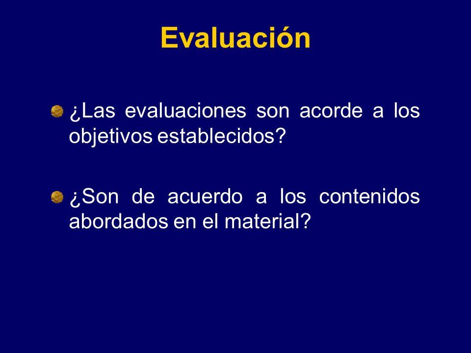 Evaluación ¿Las evaluaciones son acorde a los objetivos establecidos