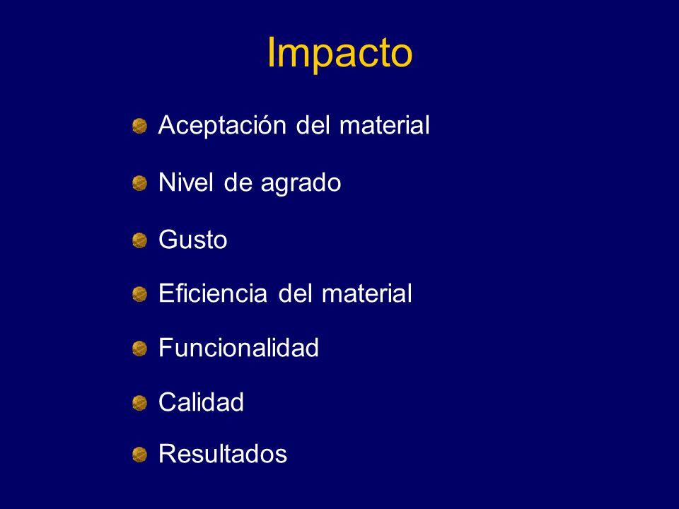 Impacto Aceptación del material Nivel de agrado Gusto
