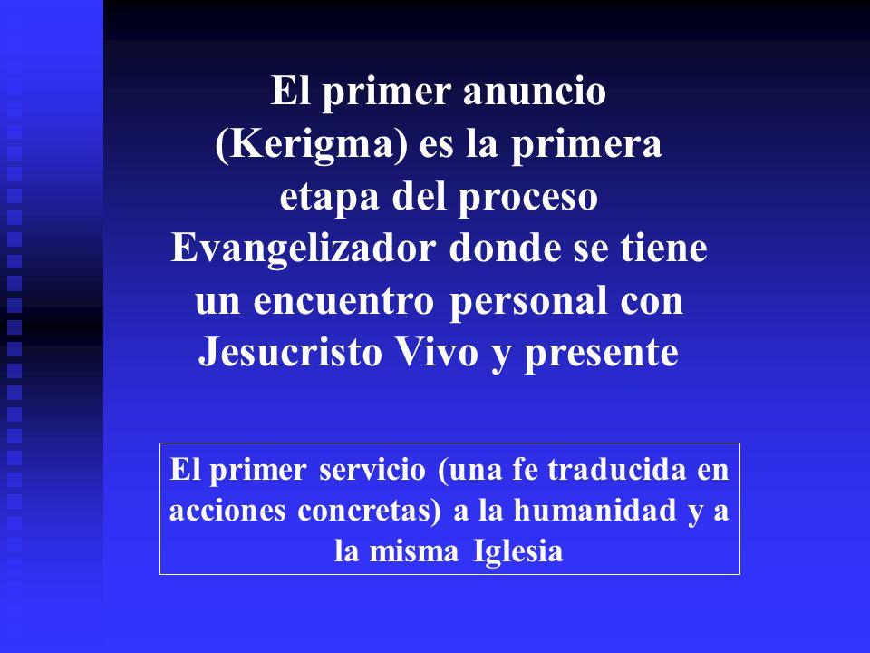 El primer anuncio (Kerigma) es la primera etapa del proceso Evangelizador donde se tiene un encuentro personal con Jesucristo Vivo y presente