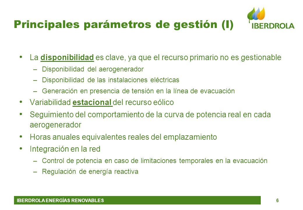 Principales parámetros de gestión (I)