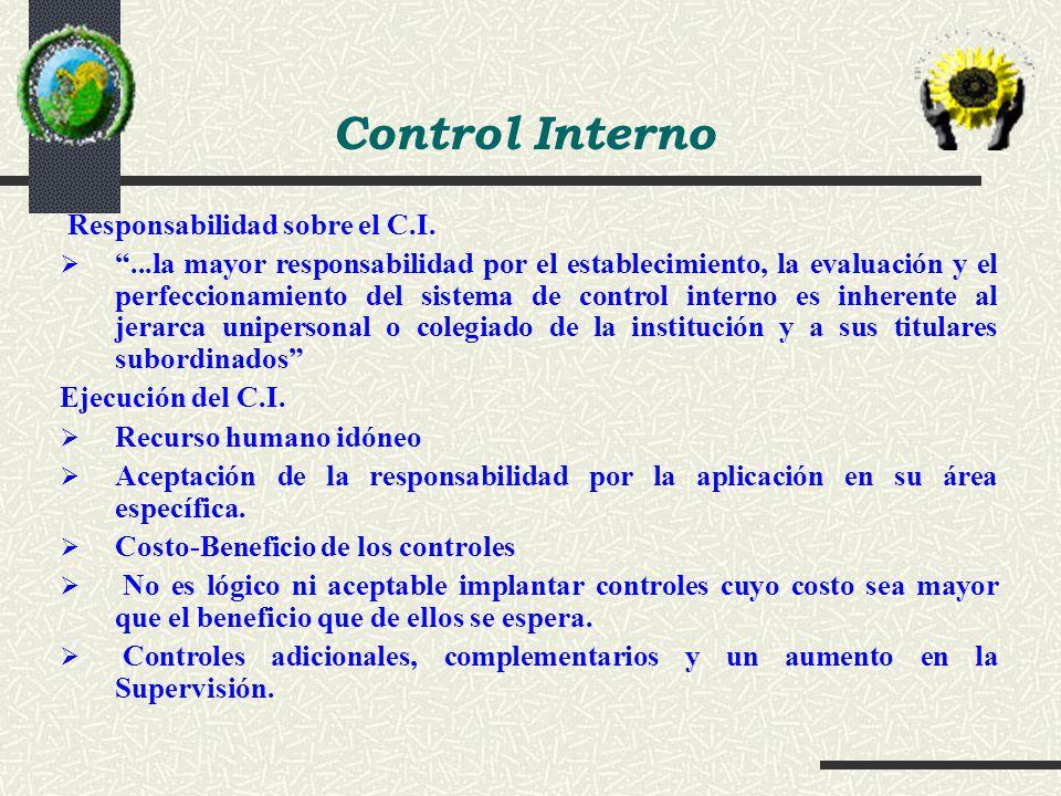 Control Interno Responsabilidad sobre el C.I.