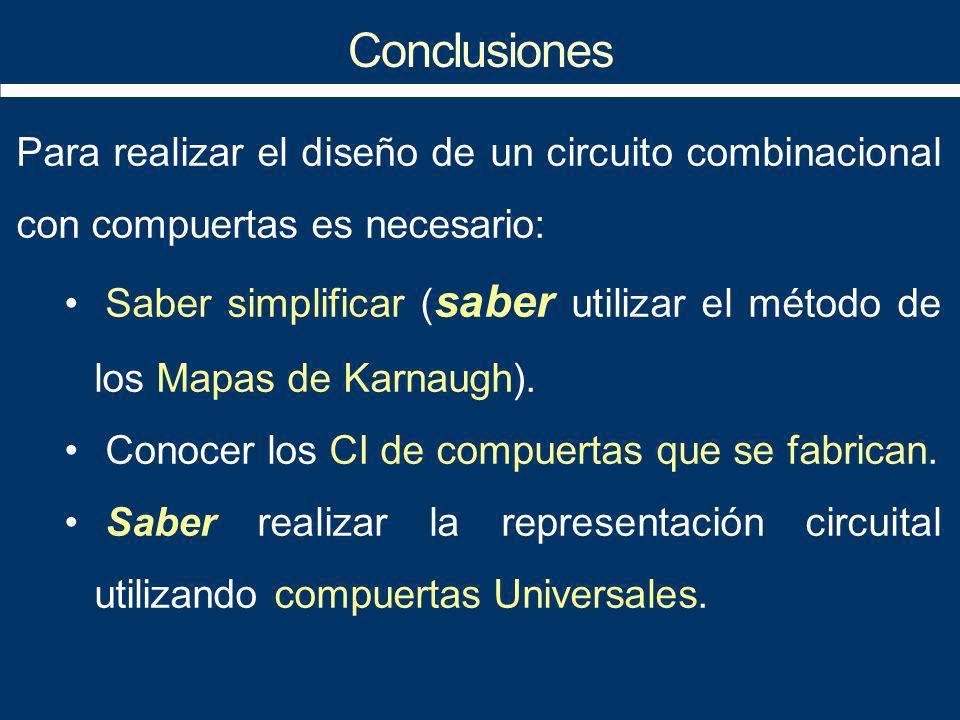 Electrónica Digital I Conclusiones. Para realizar el diseño de un circuito combinacional con compuertas es necesario:
