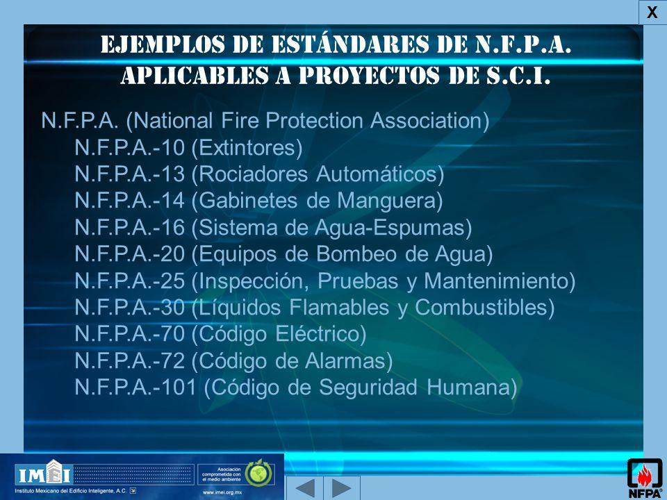 Ejemplos de Estándares de N.F.P.A. aplicables a proyectos de s.c.i.