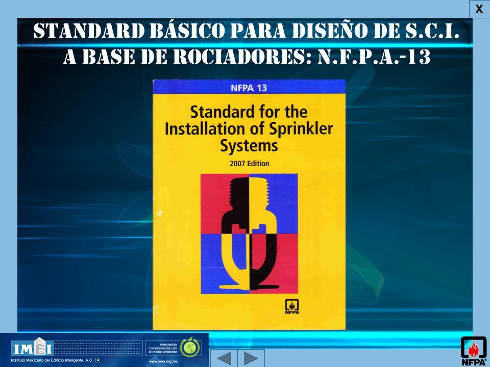 X Standard básico para diseño de S.C.I. a base de Rociadores: N.F.P.A.-13