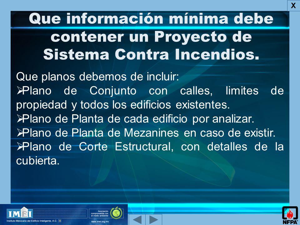 X Que información mínima debe contener un Proyecto de Sistema Contra Incendios. Que planos debemos de incluir: