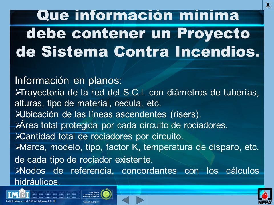 X Que información mínima debe contener un Proyecto de Sistema Contra Incendios. Información en planos: