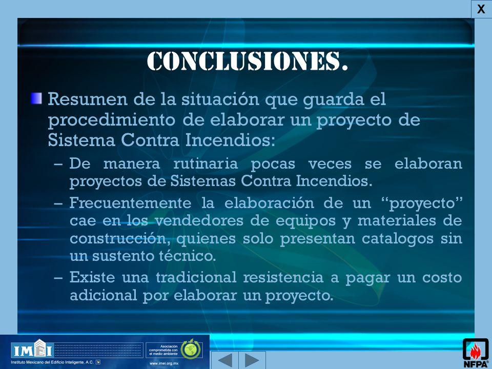 X Conclusiones. Resumen de la situación que guarda el procedimiento de elaborar un proyecto de Sistema Contra Incendios: