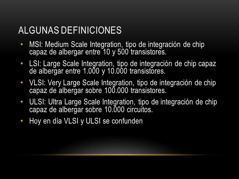 Algunas DefinicionesMSI: Medium Scale Integration, tipo de integración de chip capaz de albergar entre 10 y 500 transistores.