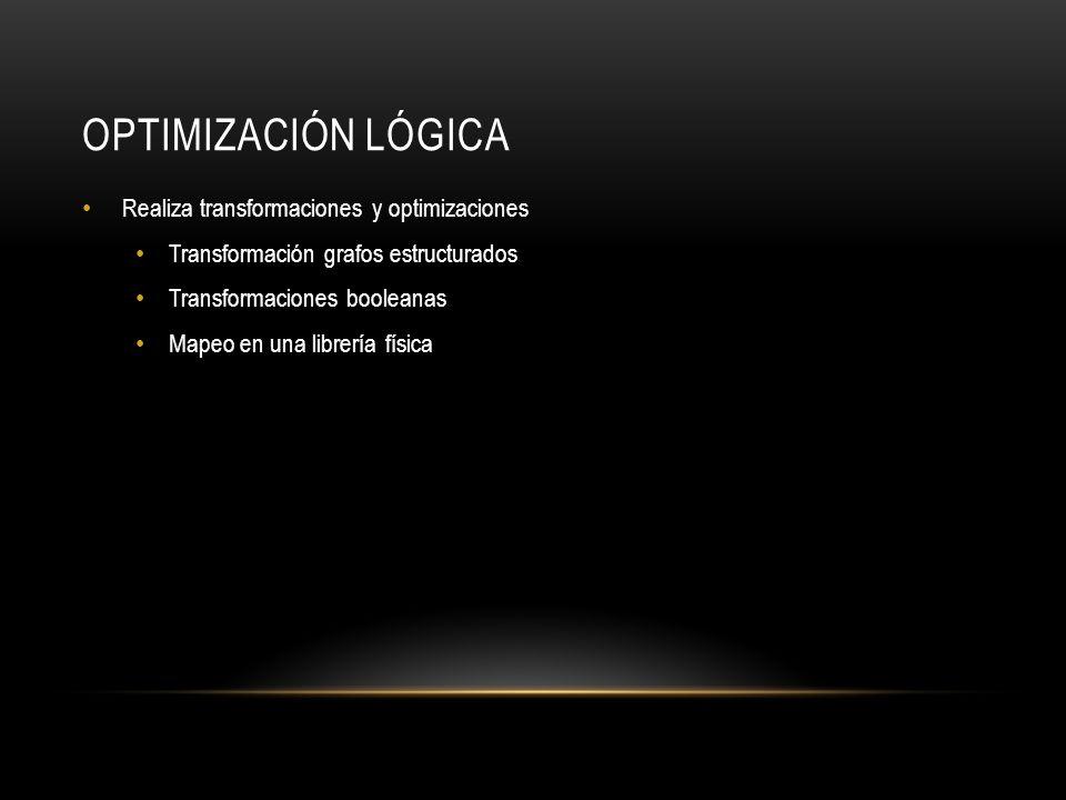 Optimización Lógica Realiza transformaciones y optimizaciones