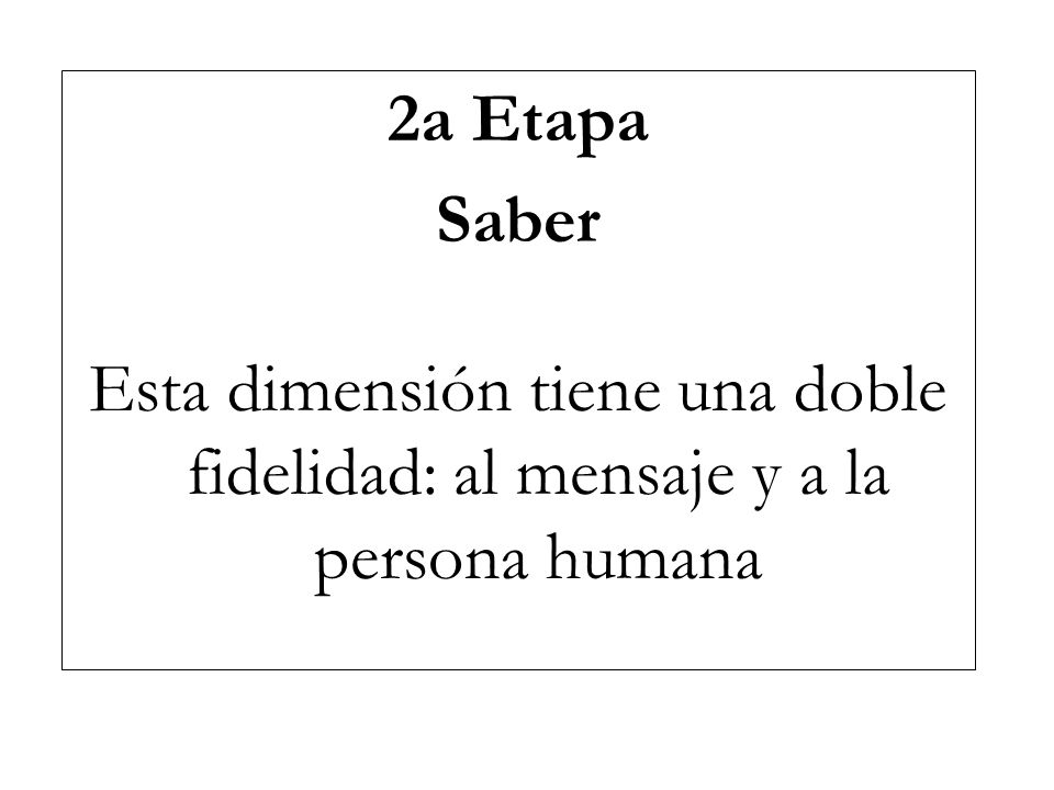 2a Etapa Saber Esta dimensión tiene una doble fidelidad: al mensaje y a la persona humana